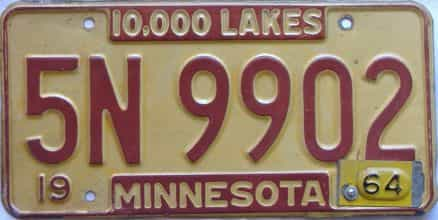 1964 Minnesota (Single) license plate for sale