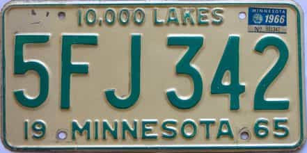 1966 Minnesota (Single) license plate for sale