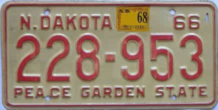 1968 North Dakota (Single) license plate for sale