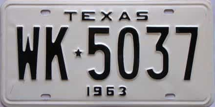 1963 Texas (Single) license plate for sale