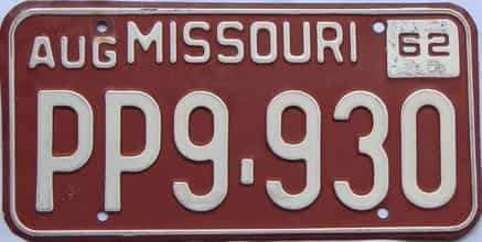 1962 Missouri license plate for sale