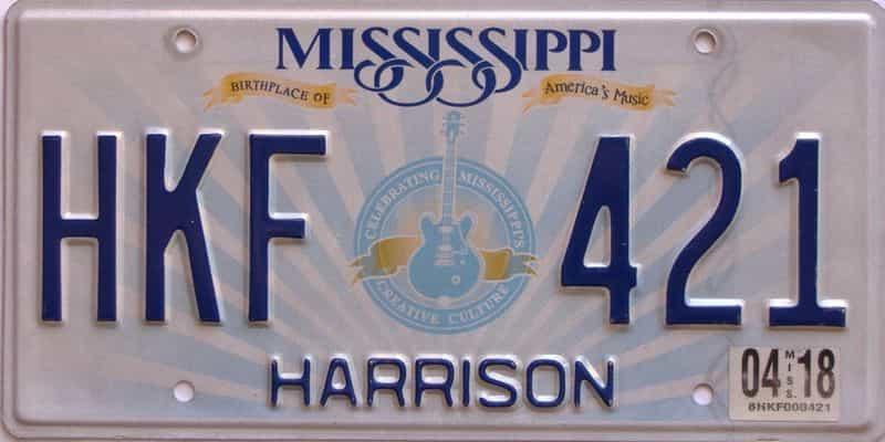 2018 Mississippi license plate for sale