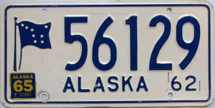 1965 Alaska  (Single) license plate for sale