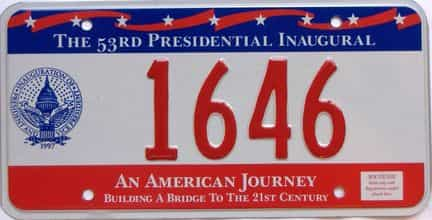 1997 District Of Columbia  (Single) license plate for sale