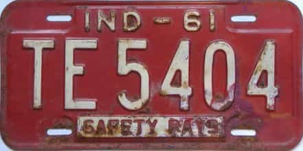 1961 Indiana  (As-Found) license plate for sale