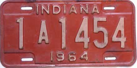 1964 Indiana license plate for sale