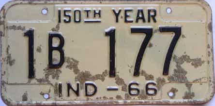 1966 Indiana  (As-Found) license plate for sale