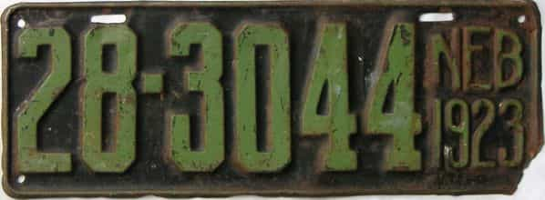 1923 Nebraska  (Single) license plate for sale