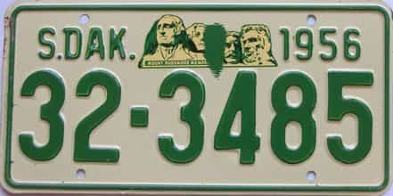 1956 South Dakota  (Single) license plate for sale