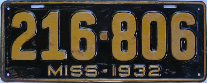 1932 Mississippi license plate for sale
