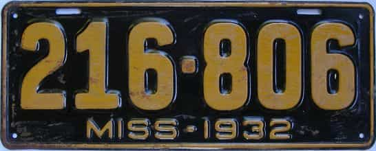 1932 Mississippi license plate for sale