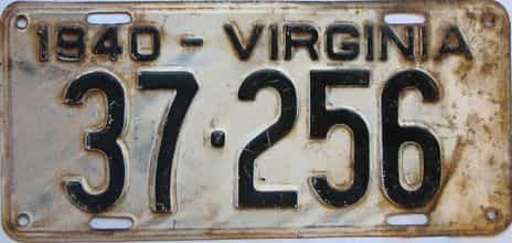 1940 Virginia (Single) license plate for sale