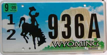 2009 Wyoming  (Single) license plate for sale