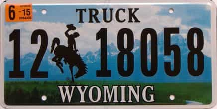 2015 Wyoming (Truck) license plate for sale
