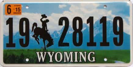 2015 Wyoming  (Single) license plate for sale