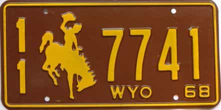 1968 Wyoming (Single) license plate for sale