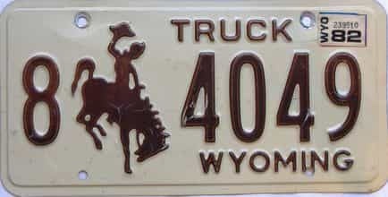 1982 Wyoming  (Truck) license plate for sale
