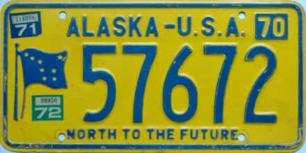 1972 Alaska (Single) license plate for sale