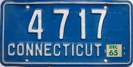 1965 Connecticut  (Single) license plate for sale
