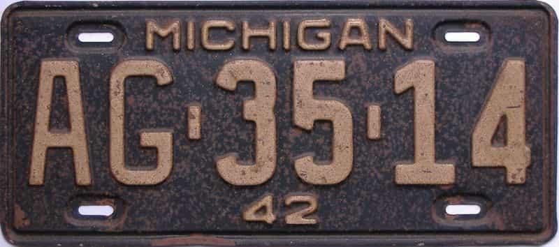 1942 Michigan  (Single) license plate for sale