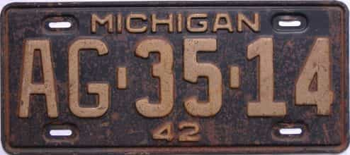 1942 Michigan  (Single) license plate for sale