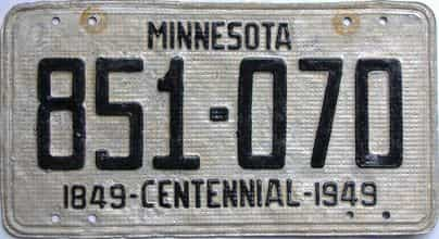 1949 Minnesota  (Relettered) license plate for sale