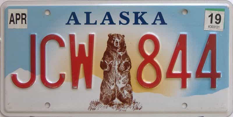 2019 Alaska (Single) license plate for sale