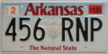 2013 Arkansas license plate for sale