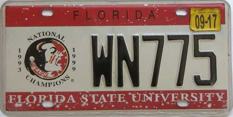 2017 Florida license plate for sale
