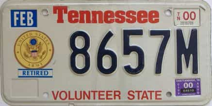 2000 Tennessee  (Military) license plate for sale