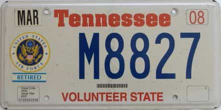 2008 Tennessee  (Military) license plate for sale
