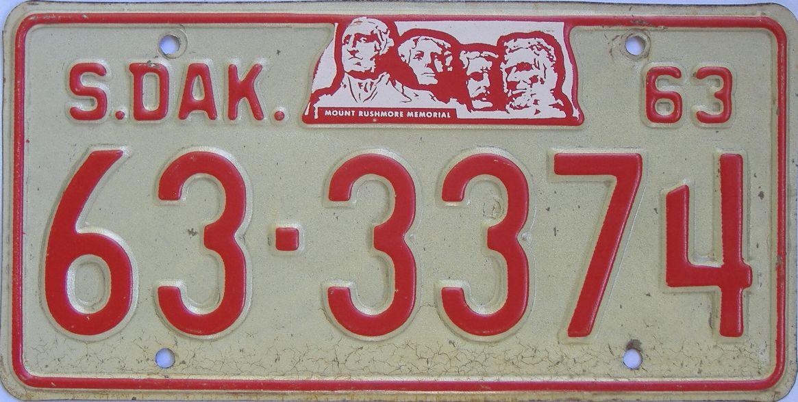 1963 South Dakota (Single) license plate for sale
