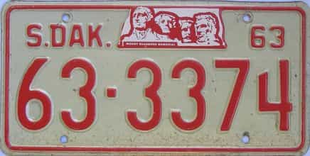1963 South Dakota (Single) license plate for sale