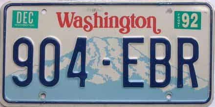 1992 Washington (Single) license plate for sale