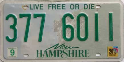 2019 New Hampshire  (Single) license plate for sale