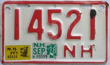 1978 New Hampshire  (Motorcycle) license plate for sale