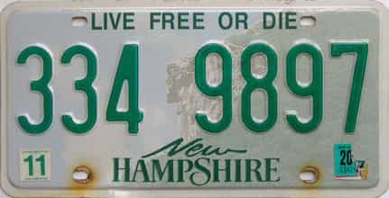 New Hampshire  (Single) license plate for sale