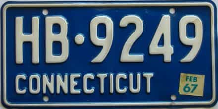 1967 Connecticut  (Single) license plate for sale