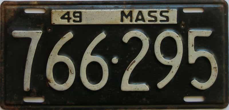 1949 Massachusetts  (Single) license plate for sale