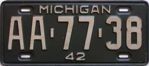 1942 Michigan license plate for sale
