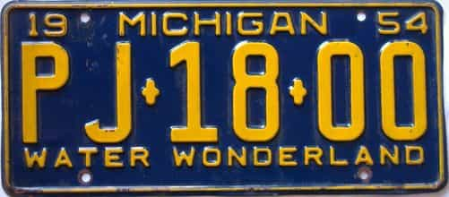 1954 Michigan license plate for sale