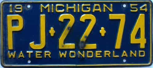 1954 Michigan license plate for sale