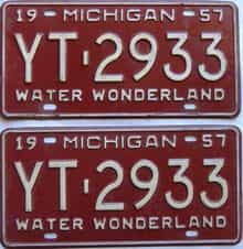 1957 Michigan  (Pair) license plate for sale