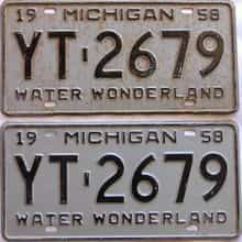 1958 Michigan  (Pair) license plate for sale