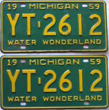 1959 Michigan  (Pair) license plate for sale