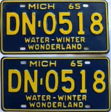 1965 Michigan  (Single) license plate for sale