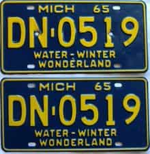 1965 Michigan (Pair) license plate for sale