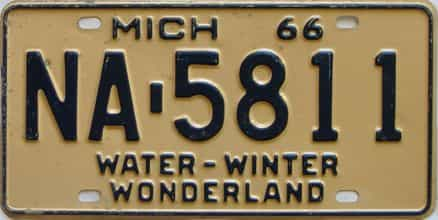 1966 Michigan  (Single) license plate for sale