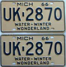 1966 Michigan  (Pair) license plate for sale
