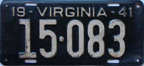 1941 Virginia  (Single) license plate for sale